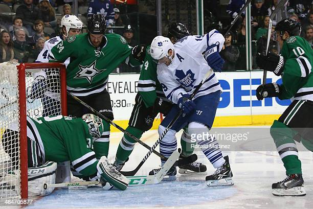 Kari Lehtonen of the Dallas Stars makes a save against Joffrey Lupul of the Toronto Maple Leafs in the second period at American Airlines Center on...