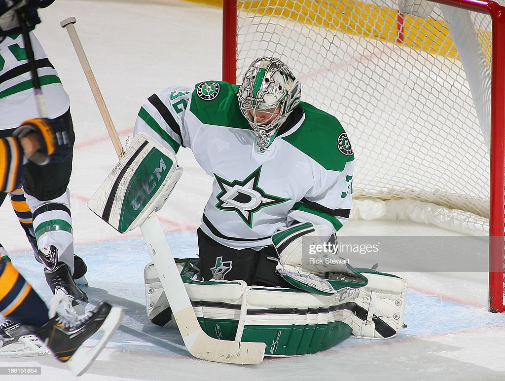 <a gi-track='captionPersonalityLinkClicked' href=/galleries/search?phrase=Kari+Lehtonen&family=editorial&specificpeople=211612 ng-click='$event.stopPropagation()'>Kari Lehtonen</a> #32 of the Dallas Stars makes a save against the Buffalo Sabres at First Niagara Center on October 28, 2013 in Buffalo, New York. Dallas won 4-3.