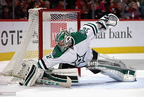 Kari Lehtonen of the Dallas Stars makes a save against the Chicago Blackhawks at the United Center on February 11 2016 in Chicago Illinois