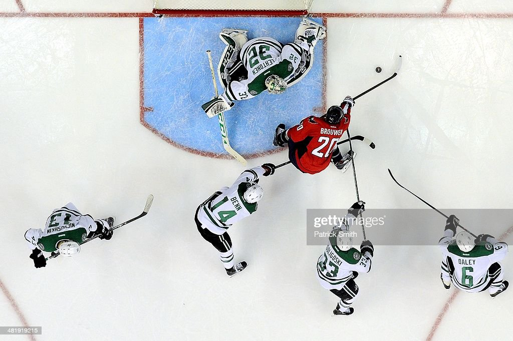 <a gi-track='captionPersonalityLinkClicked' href=/galleries/search?phrase=Kari+Lehtonen&family=editorial&specificpeople=211612 ng-click='$event.stopPropagation()'>Kari Lehtonen</a> #32 of the Dallas Stars makes a save on <a gi-track='captionPersonalityLinkClicked' href=/galleries/search?phrase=Troy+Brouwer&family=editorial&specificpeople=4155305 ng-click='$event.stopPropagation()'>Troy Brouwer</a> #20 of the Washington Capitals in the third period during an NHL game at Verizon Center on April 1, 2014 in Washington, DC.