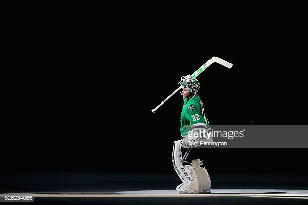 Kari Lehtonen of the Dallas Stars skates onto the ice to be recognized after the Stars beat the St Louis Blues 21 in Game One of the Western...