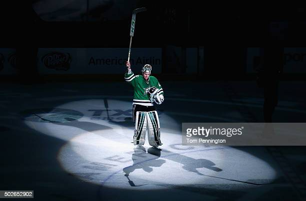 Kari Lehtonen of the Dallas Stars waves to fans after the Stars beat the St Louis Blues 30 at American Airlines Center on December 27 2015 in Dallas...