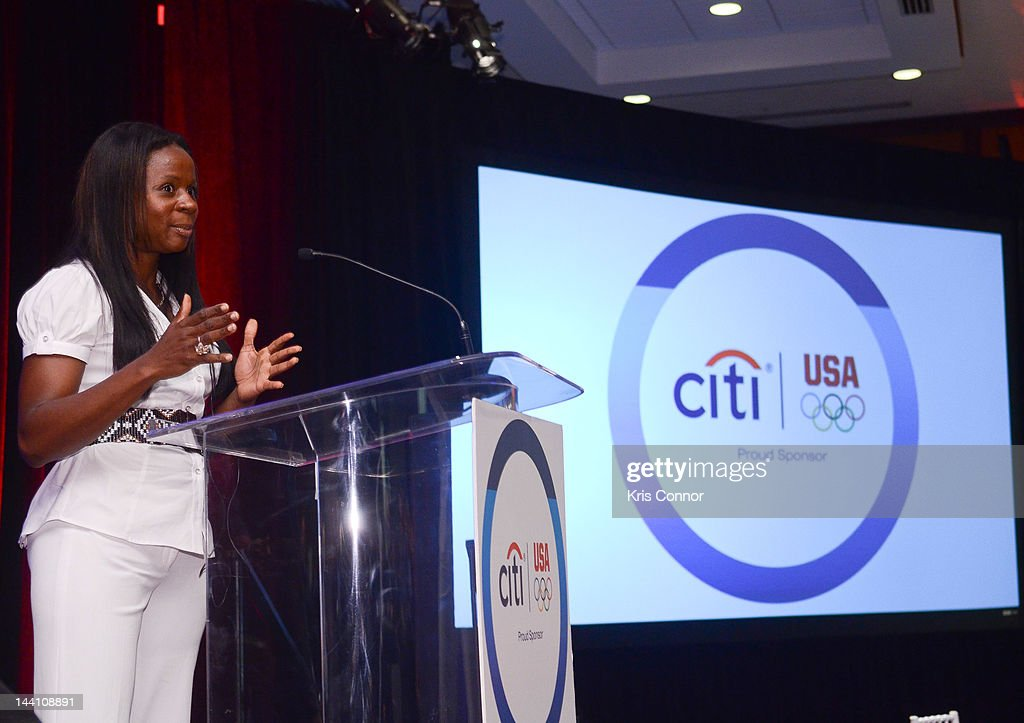 Kari Miller speaks at an event to celebrate Citi's Team USA sponsorship and mark its 200th anniversary at the Hyatt Regency Washington on Capitol Hill on May 9, 2012 in Washington, DC.