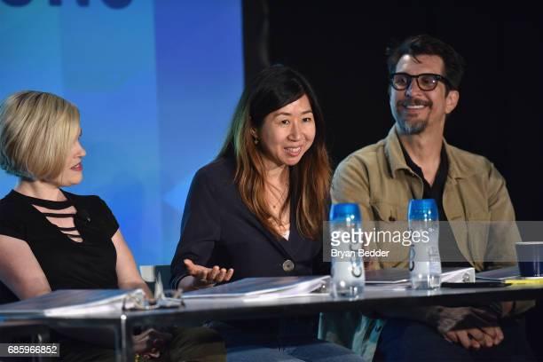 Kari Wahlgren Niki Yang and Lucky Yates speak onstage during Saturday Morning Cartoons in the ATT Studio at the 2017 Vulture Festival at Milk Studios...