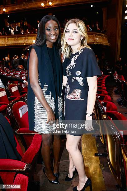 Karidja Touré and Louane Emera attend The Cesar Film Award 2016 at Theatre du Chatelet on February 26 2016 in Paris France