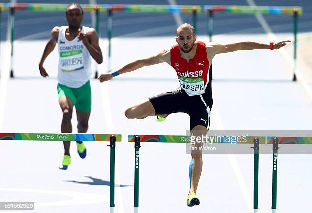 Kariem Hussein of Switzerland competes in the Men's 400m Hurdles Round 1 heats on Day 10 of the Rio 2016 Olympic Games at the Olympic Stadium on...