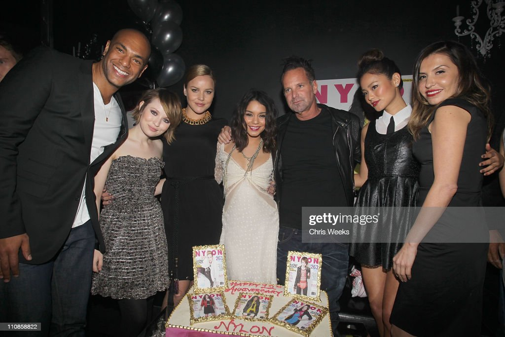 Karim, Abay, actresses <a gi-track='captionPersonalityLinkClicked' href=/galleries/search?phrase=Emily+Browning&family=editorial&specificpeople=214573 ng-click='$event.stopPropagation()'>Emily Browning</a>, <a gi-track='captionPersonalityLinkClicked' href=/galleries/search?phrase=Abbie+Cornish&family=editorial&specificpeople=213603 ng-click='$event.stopPropagation()'>Abbie Cornish</a>, Vanessa Hudgens, Marvin Scott Jarret, actress <a gi-track='captionPersonalityLinkClicked' href=/galleries/search?phrase=Jamie+Chung&family=editorial&specificpeople=4145549 ng-click='$event.stopPropagation()'>Jamie Chung</a> and Jaclynn Jarrett attend the NYLON 12th Anniversary Celebration hosted by the stars of Sucker Punch at Tru on March 24, 2011 in Hollywood, California.