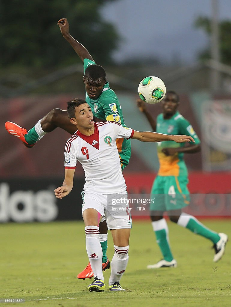Karim Achahbar of Morocco during the Round of 16 match of the FIFA U-17 World Cup between Morocco and Ivory Coast at Fujairah Stadium on October 29, 2013 in Fujairah, United Arab Emirates.
