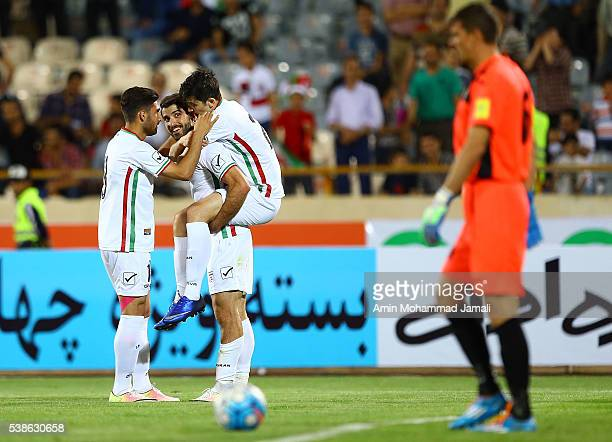 Karim Ansarifard celebrates during the international friendly match between Iran and Kyrgyzstan on June 7 2016 in Tehran Iran