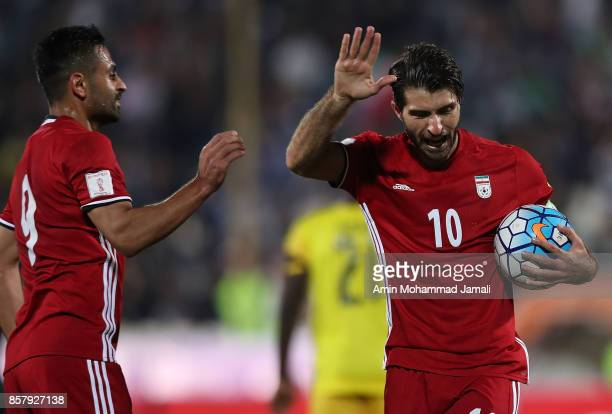 Karim Ansarifard of Iran celebrates after first goal during the international friendly match between Iran and Togo at Azadi Stadium on October 5 2017...