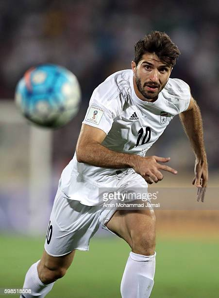 Karim Ansarifard of iran in action during FIFA 2018 World Cup Qualifier match between Iran against Qatar on September 1 2016 in Tehran Iran