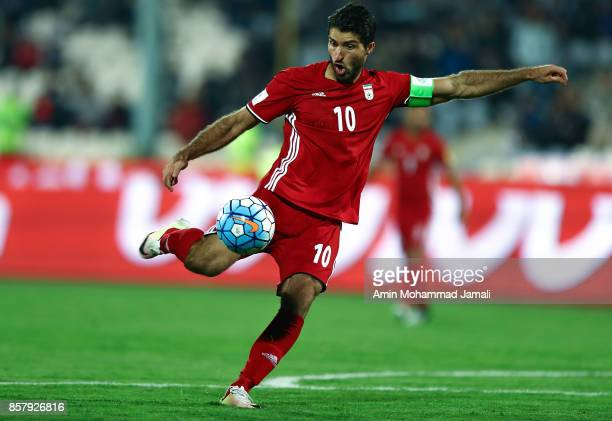 Karim Ansarifard of Iran in action during the international friendly match between Iran and Togo at Azadi Stadium on October 5 2017 in Tehran Iran