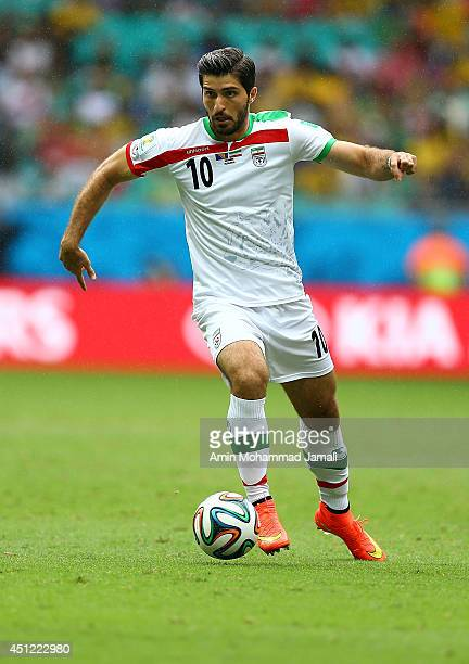 Karim Ansarifard of Iran looks on during the 2014 FIFA World Cup Brazil Group F match between Bosnia and Herzegovina and Iran at Arena Fonte Nova on...
