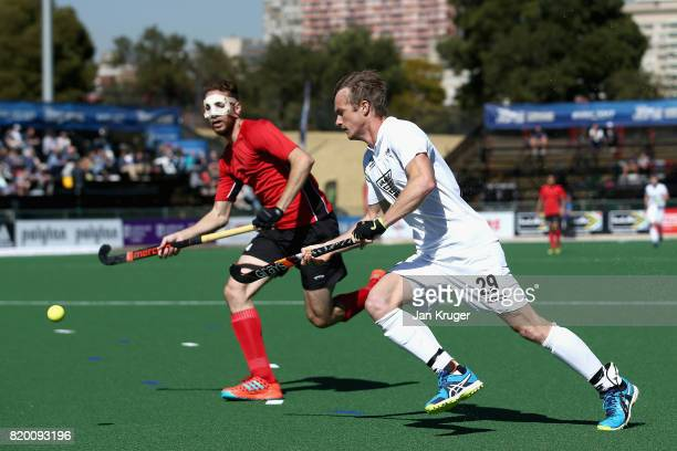 Karim Atef of Egypt puts pressure on Hugo Inglis of New Zealand during the 5th8th place play off match between Egypt and New Zealand on Day 7 of the...
