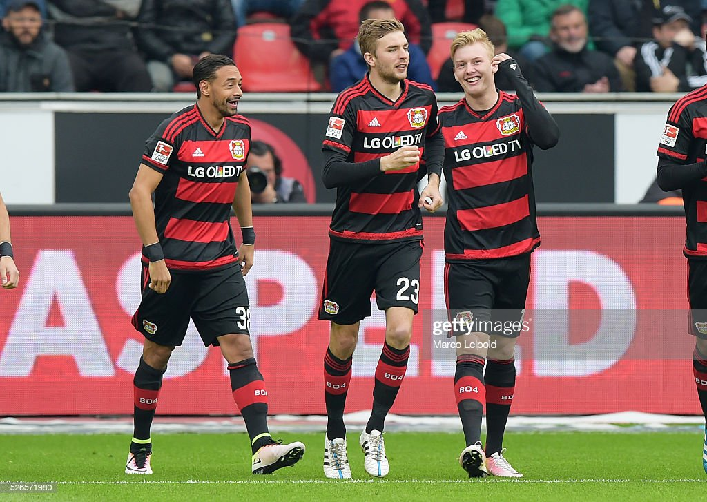 Karim Bellarabi, Christoph Kramer and Julian Brandt of Bayer 04 Leverkusen celebrate after scoring the 1:0 during the game between Bayer 04 Leverkusen and Hertha BSC on april 30, 2016 in Leverkusen, Germany.