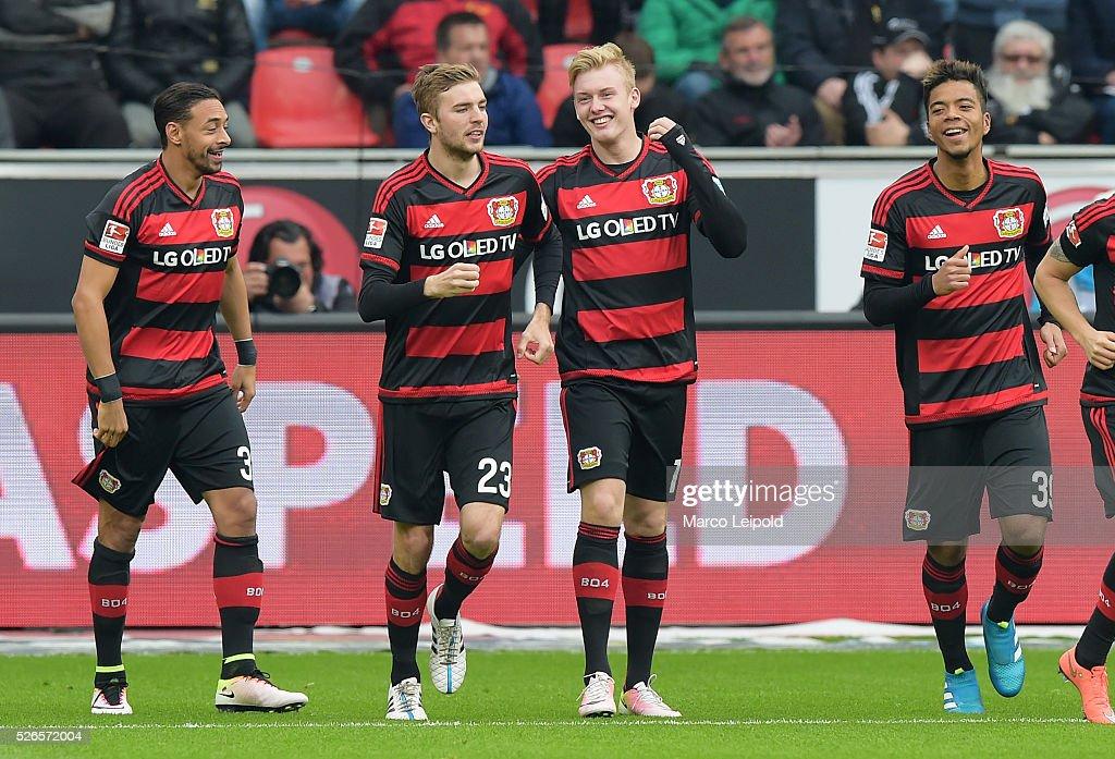Karim Bellarabi, Christoph Kramer, Julian Brandt and Benjamin Henrichs of Bayer 04 Leverkusen celebrate after scoring the 1:0 during the game between Bayer 04 Leverkusen and Hertha BSC on april 30, 2016 in Leverkusen, Germany.