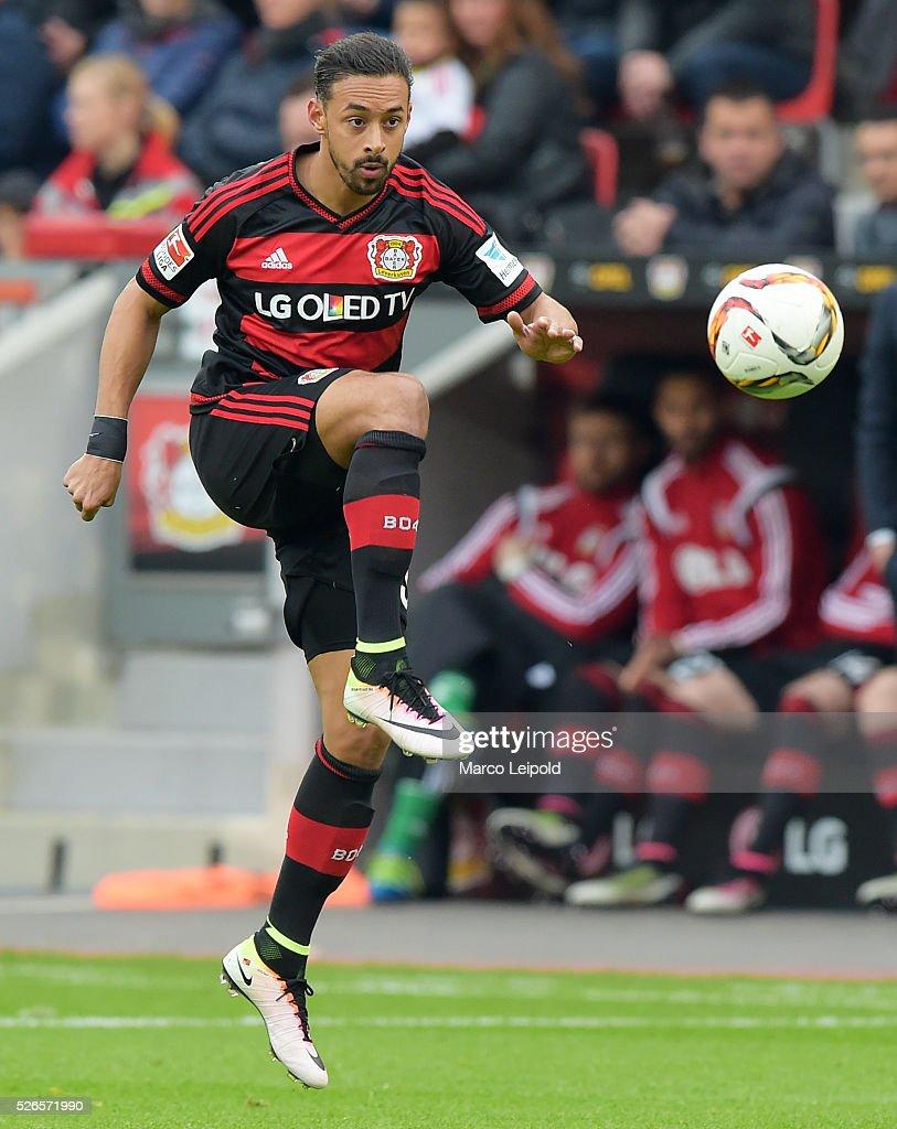 Karim Bellarabi of Bayer 04 Leverkusen during the game between Bayer 04 Leverkusen and Hertha BSC on april 30, 2016 in Leverkusen, Germany.