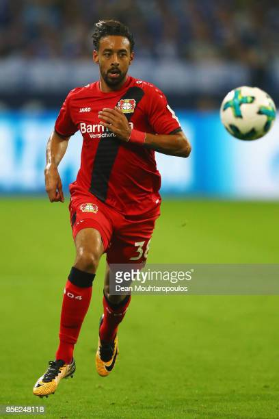 Karim Bellarabi of Bayer 04 Leverkusen in action during the Bundesliga match between FC Schalke 04 and Bayer 04 Leverkusen at VeltinsArena on...