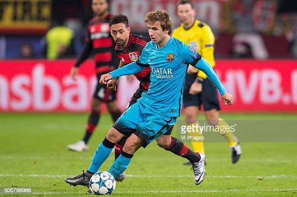 Karim Bellarabi of Bayer 04 Leverkusen Sergi Samper of FC Barcelona during the UEFA Champions League match between Bayer 04 Leverkusen and FC...