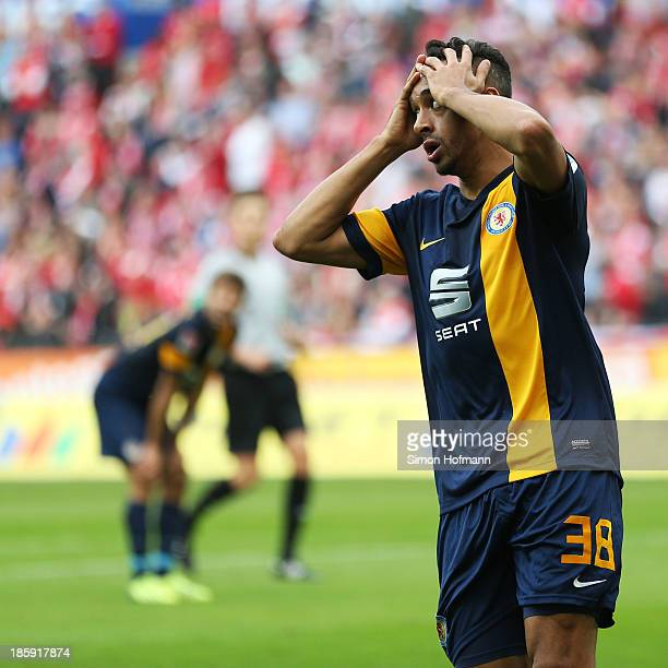 Karim Bellarabi of Braunschweig reacts during the Bundesliga match between 1 FSV Mainz and Eintracht Braunschweig at Coface Arena on October 26 2013...
