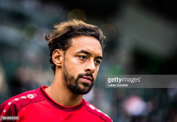 Karim Bellarabi of Leverkusen arrives prior to the Bundesliga match between Borussia Moenchengladbach and Bayer 04 Leverkusen at BorussiaPark on...