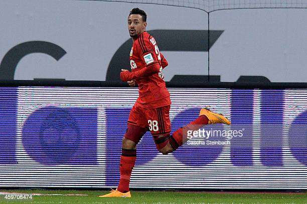 Karim Bellarabi of Leverkusen celebrates after scoring his team's first goal during the Bundesliga match between Bayer 04 Leverkusen and 1 FC Koeln...
