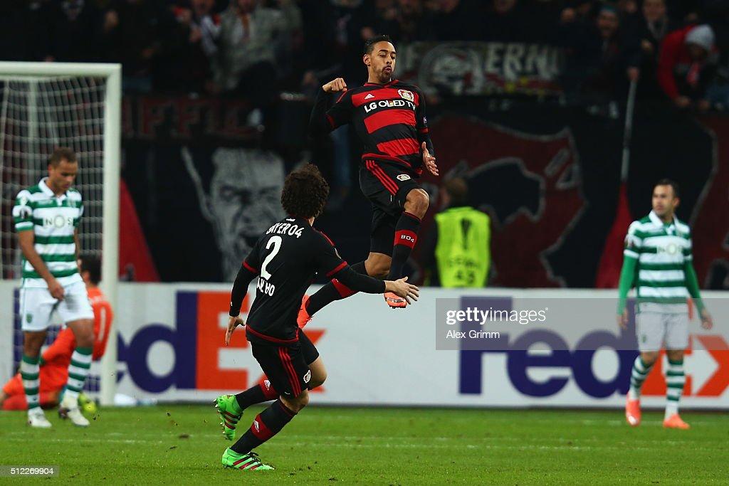 Karim Bellarabi of Leverkusen celebrates his team's second goal during the UEFA Europa League round of 32 second leg match between Bayer Leverkusen...