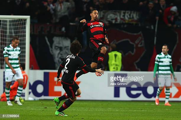 Karim Bellarabi of Leverkusen celebrates his team's second goal during the UEFA Europa League round of 32 second leg match between Bayer Leverkusen...