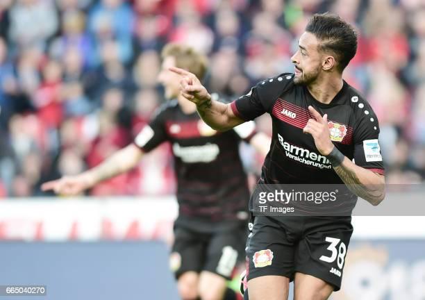 Karim Bellarabi of Leverkusen celebrates scoring a goal during the Bundesliga match between Bayer 04 Leverkusen and VfL Wolfsburg at BayArena on...