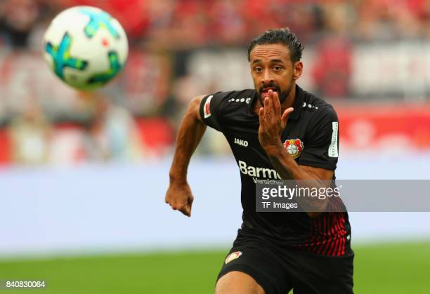 Karim Bellarabi of Leverkusen controls the ball during the Bundesliga match between Bayer 04 Leverkusen and TSG 1899 Hoffenheim at BayArena on August...