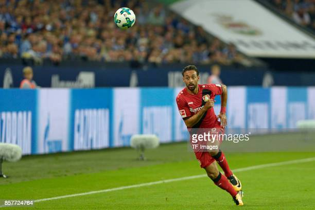 Karim Bellarabi of Leverkusen controls the ball during the Bundesliga match between FC Schalke 04 and Bayer 04 Leverkusen at VeltinsArena on...