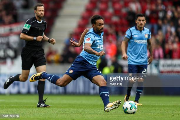 Karim Bellarabi of Leverkusen controls the ball the ball the Bundesliga match between 1 FSV Mainz 05 and Bayer 04 Leverkusen at Opel Arena on...