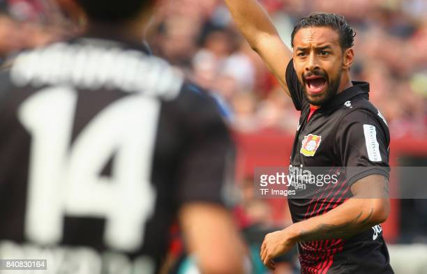Karim Bellarabi of Leverkusen gestures during the Bundesliga match between Bayer 04 Leverkusen and TSG 1899 Hoffenheim at BayArena on August 26 2017...