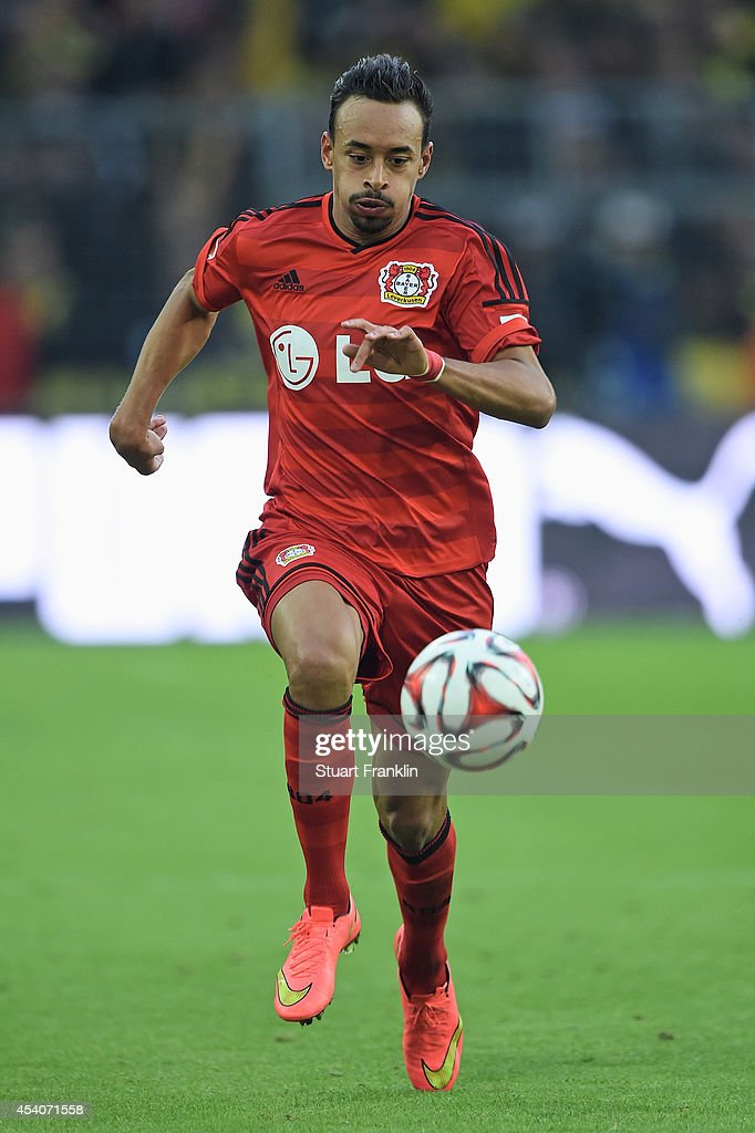 <a gi-track='captionPersonalityLinkClicked' href=/galleries/search?phrase=Karim+Bellarabi&family=editorial&specificpeople=7158972 ng-click='$event.stopPropagation()'>Karim Bellarabi</a> of Leverkusen in action during the Bundesliga match between Borussia Dortmund and Bayer 04 Leverkusen at Signal Iduna Park on August 23, 2014 in Dortmund, Germany.