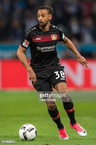 Karim Bellarabi of Leverkusen in action during the Bundesliga match between Bayer 04 Leverkusen and FC Schalke 04 at BayArena on April 28 2017 in...