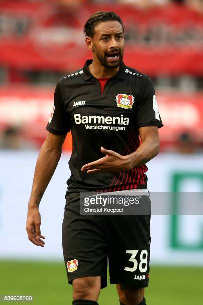 Karim Bellarabi of Leverkusen is seen during the Bundesliga match between Bayer 04 Leverkusen and TSG 1899 Hoffenheim at BayArena on August 26 2017...