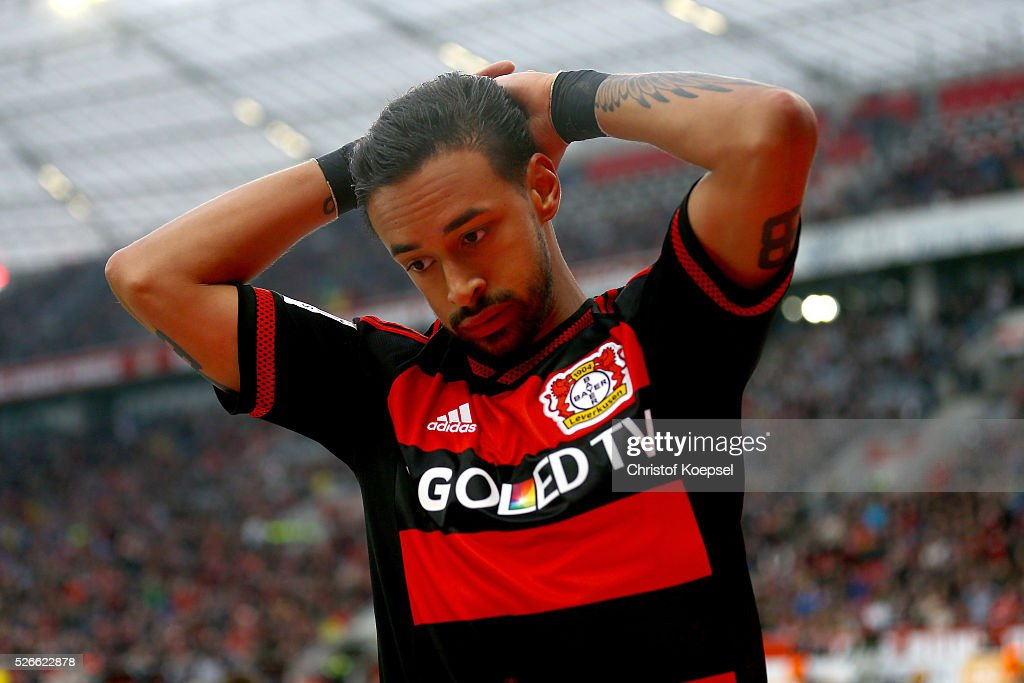 Karim Bellarabi of Leverkusen looks thoughtful during the Bundesliga match between Bayer Leverkusen and Hertha BSC Berlin at BayArena on April 30, 2016 in Leverkusen, Germany.
