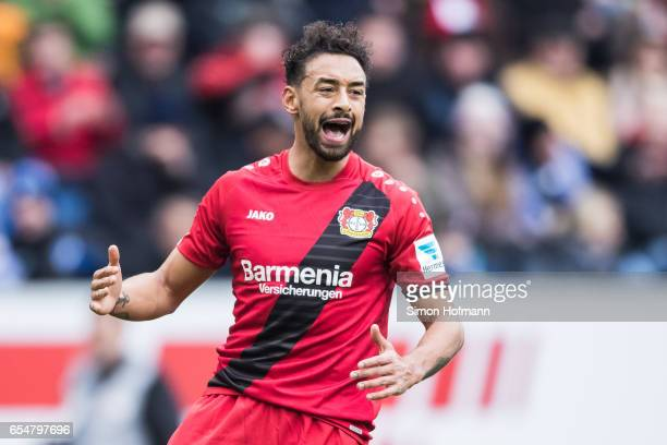 Karim Bellarabi of Leverkusen reacts during the Bundesliga match between TSG 1899 Hoffenheim and Bayer 04 Leverkusen at Wirsol RheinNeckarArena on...