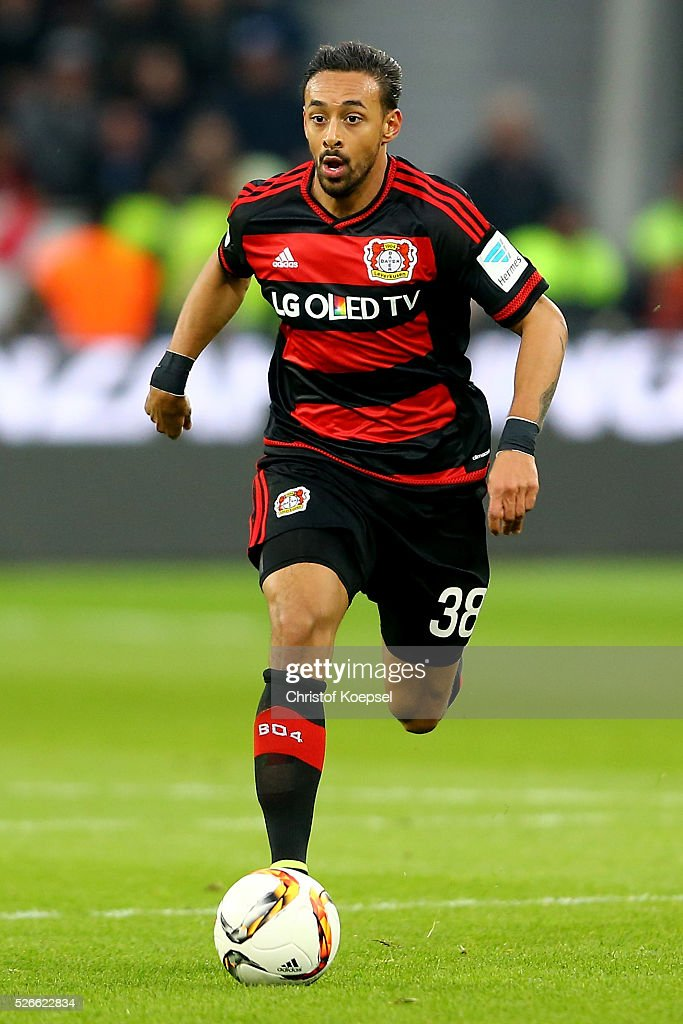 <a gi-track='captionPersonalityLinkClicked' href=/galleries/search?phrase=Karim+Bellarabi&family=editorial&specificpeople=7158972 ng-click='$event.stopPropagation()'>Karim Bellarabi</a> of Leverkusen runs with the ball during the Bundesliga match between Bayer Leverkusen and Hertha BSC Berlin at BayArena on April 30, 2016 in Leverkusen, Germany.