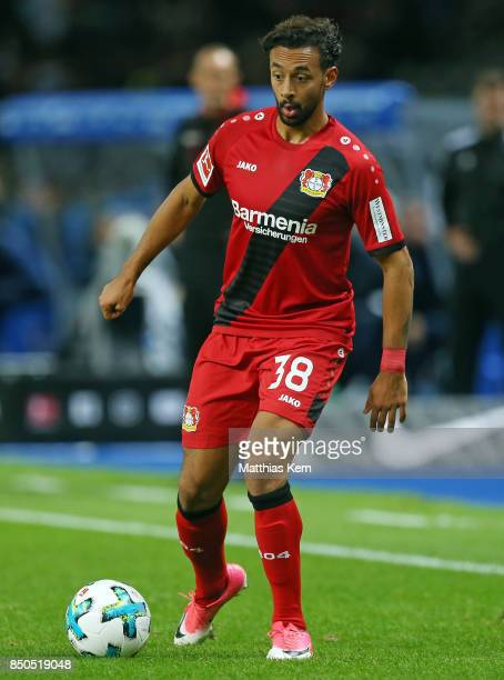Karim Bellarabi of Leverkusen runs with the ball during the Bundesliga match between Hertha BSC and Bayer 04 Leverkusen at Olympiastadion on...