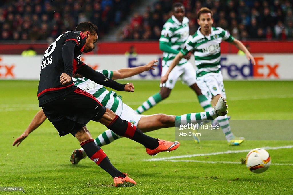 Karim Bellarabi of Leverkusen scores his team's first goal during the UEFA Europa League round of 32 second leg match between Bayer Leverkusen and...