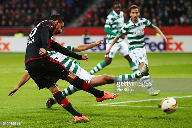 Karim Bellarabi of Leverkusen scores his team's first goal during the UEFA Europa League round of 32 second leg match between Bayer Leverkusen and...