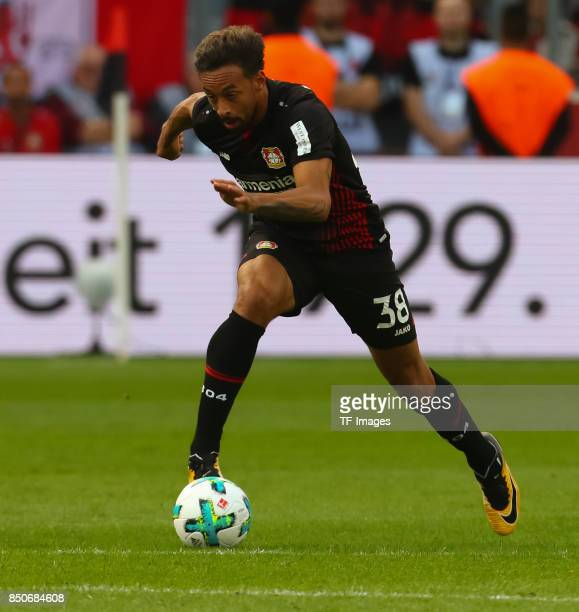 Karim Bellarabi of Leverkusencontrols the ball during the Bundesliga match between Bayer 04 Leverkusen and SC Freiburg at BayArena on September 17...