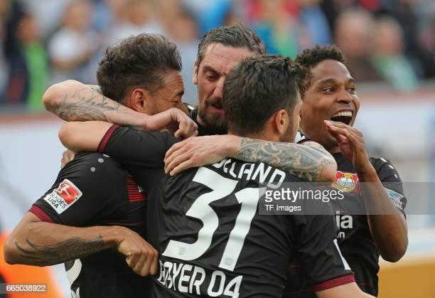 Karim Bellarabi Roberto Hilbert Kevin VollandWendell after scoring his teams first goal during the Bundesliga match between Bayer 04 Leverkusen and...