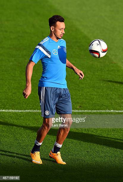 Karim Bellarabi warms up during a Germany training session on October 13 2014 in Essen Germany