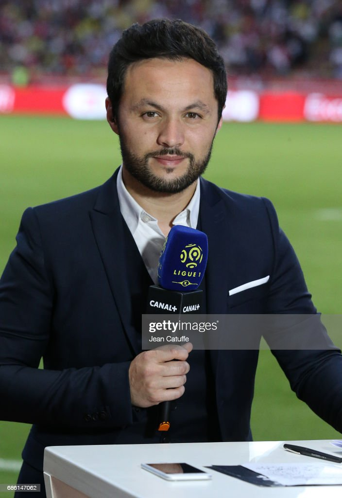 Karim Bennani of Canal Plus Sport comments the French Ligue 1 match between AS Monaco and AS Saint-Etienne (ASSE) at Stade Louis II on May 17, 2017 in Monaco, Monaco.