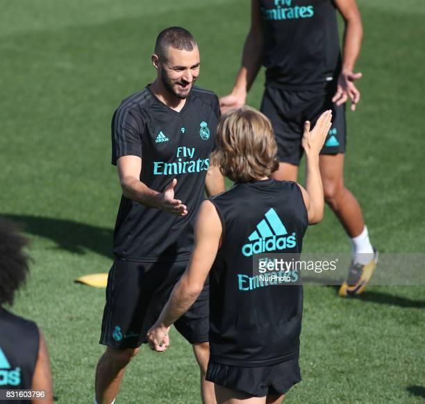 Karim Benzema and Luka Modric of Real Madrid during the last training of Real Madrid before the supercopa match 2nd Leg against Barcelona on August...