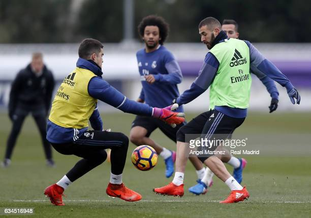 Karim Benzema and Ruben Yanez of Real Madrid in action during a training session at Valdebebas training ground on Frebuary 10 2017 in Madrid Spain
