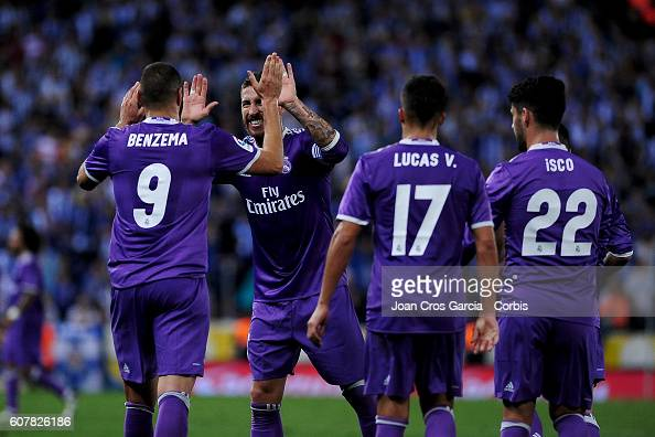 Karim Benzema and Sergio Ramos of Real Madrid celebrating the Benzema goal during the Spanish League match between RCD Espanyol vs Real Madrid CF at...