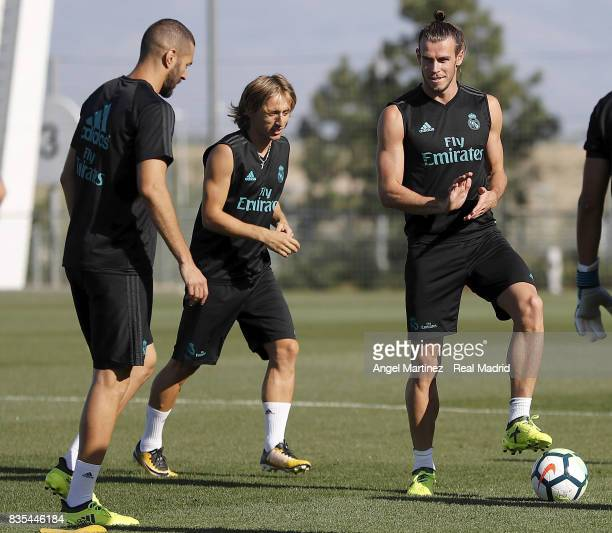 Karim Benzema Luka Modric and Gareth Bale of Real Madrid in action during a training session at Valdebebas training ground on August 19 2017 in...